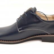 Pantofi barbati piele naturala bleumarin casual-eleganti cu siret cod P23