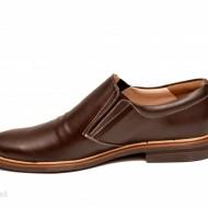 Pantofi barbati piele naturala maro casual-eleganti cu elastic cod P147