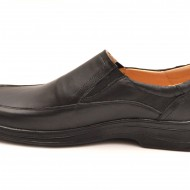 Pantofi barbati piele naturala negri casual-eleganti cu elastic cod P61
