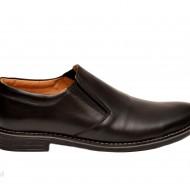 Pantofi barbati piele naturala negri casual-eleganti cu elastic cod P132