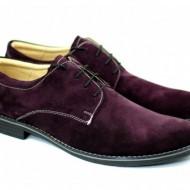 Pantofi bordo barbati piele naturala velur casual-office - cod P82