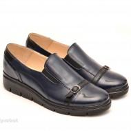 Pantofi dama bleumarin sport-casual din piele naturala cu elastic cod P102