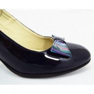 Pantofi dama eleganti din piele naturala bleumarin lacuiti cod P334