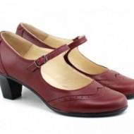 Pantofi dama eleganti din piele naturala grena cu toc de 5 cm cod P143GR