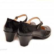 Pantofi dama eleganti din piele naturala negri cu toc de 5 cm cod P106N