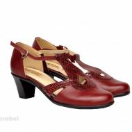Pantofi dama grena cu toc aplicat din piele naturala cod P351