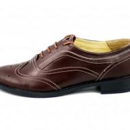 Pantofi dama maro casual-eleganti din piele naturala Oxford cod P71M
