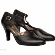 Pantofi dama negri cu toc aplicat din piele naturala cod P345