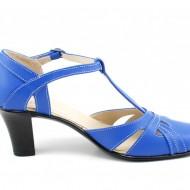 Pantofi dama piele naturala albastri cu bareta cod P126AL - Made in Romania