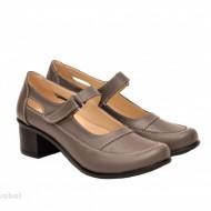 Pantofi dama piele naturala gri cu platforma cod P135GRI - Made in Romania