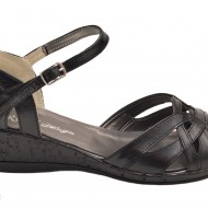 Pantofi dama piele naturala negri cu bareta cod P36