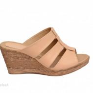 Papuci dama bej din piele naturala cu platforma cod PP15BEJ