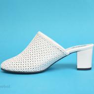 Saboti albi dama eleganti din piele naturala cod SB301ALB- Editie de LUX