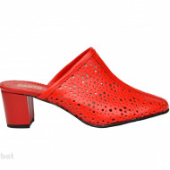 Saboti rosii dama eleganti din piele naturala cod SB301R - Editie de LUX