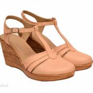 Sandale dama bej cu platforma din piele naturala cod S55BEJ