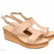 Sandale dama bej lacuite din piele naturala cu platforma cod S47