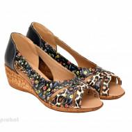 Sandale dama multicolore cu platforma din piele naturala cod S61