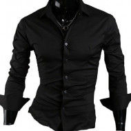 Camasa Regular Fit Neagra bumbac - Camasa neagra barbati slim fit ZR15RF