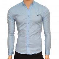 Camasa Slim Fit barbati bleu cu picatele negre - Camasa barbati (bumbac) ZR59