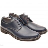 Pantofi barbati piele naturala bleumarin casual-eleganti cu siret cod P69BL