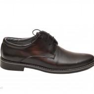 Pantofi barbati piele naturala negri casual-eleganti cu siret cod P69N