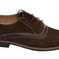 Pantofi barbati piele naturala velur maro casual-eleganti cu siret cod P17