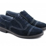 Pantofi bleumarin barbati piele naturala velur casual-office - cod P84