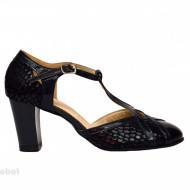 Pantofi dama bleumarin cu toc aplicat din piele naturala cod P343