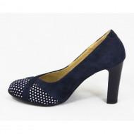 Pantofi dama bleumarin eleganti din piele naturala cu toc de 9 cm cod P330