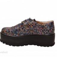 Pantofi dama cu talpa inalta 5,5 cm multicolori din piele naturala cod P178