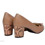 Pantofi dama eleganti cu toc imbracat din piele naturala bej cod P340