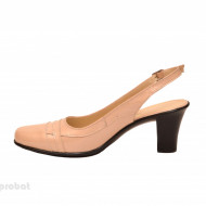 Pantofi dama eleganti din piele naturala bej lacuit cod P167BEJ