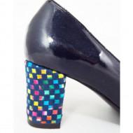 Pantofi dama eleganti din piele naturala negri cu buline cod P317