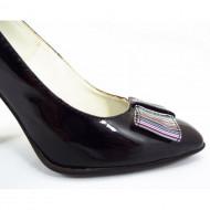 Pantofi dama eleganti din piele naturala negri lacuiti cod P322