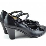 Pantofi dama eleganti negri din piele naturala cu funda cod P125