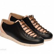Pantofi dama negri cu bej din piele naturala cod P198
