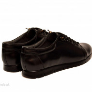 Pantofi dama negri cu siret elastic din piele naturala cod P184N