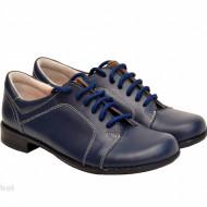 Pantofi dama piele naturala bleumarin cu siret cod P92BLM