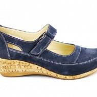 Pantofi dama piele naturala bleumarin velur cu platforma cod P87BLVEL - Made in Romania