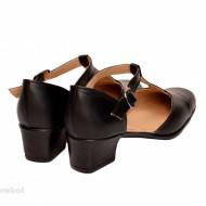 Pantofi dama piele naturala negri cu bareta cod P26NBOX