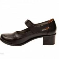 Pantofi dama piele naturala negri cu platforma cod P135N - Made in Romania
