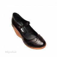 Pantofi dama piele naturala negri cu platforma cod P171N