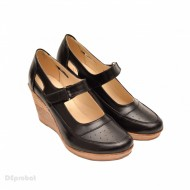 Pantofi dama piele naturala negri cu platforma cod P74N - LICHIDARE STOC 38