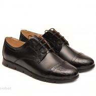 Pantofi dama sport-casual negri din piele naturala cu siret cod P111
