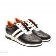 Pantofi sport dama piele naturala negru cu alb cod P78 - Made in Romania