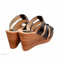 Papuci dama negri din piele naturala cu platforma cod PP15N