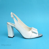 Sandale alb sidefate dama din piele naturala toc 9,5 cm cod S310 - EDITIE DE LUX