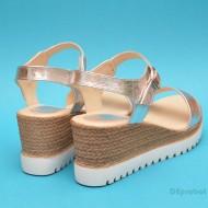 Sandale dama argintii din piele naturala cu platforma cod S20