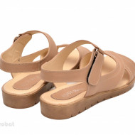 Sandale dama piele naturala bej cu talpa joasa cod S46 - LICHIDARE STOC 36