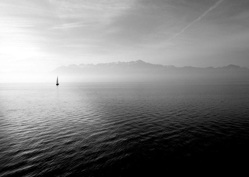 Tablou Lac alb-negru